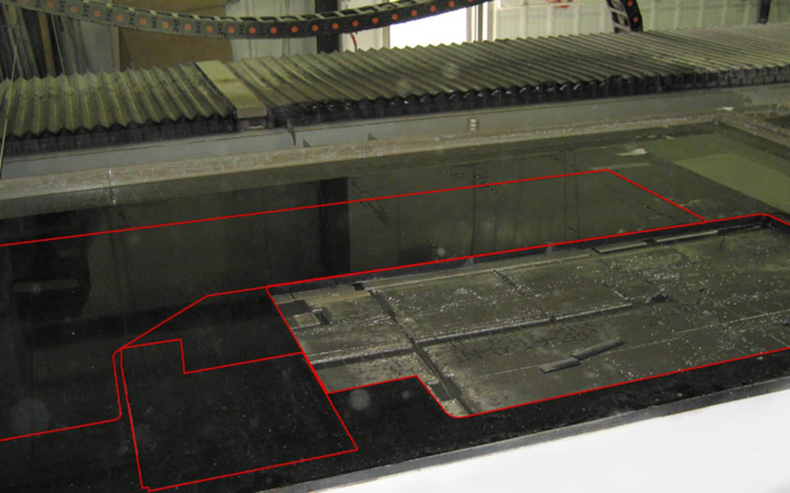 Laserprojektion für CNC Bearbeitungszentrum Steinindustrie