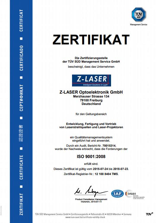 TÜV Zertifikat Z-LASER