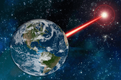 A rendering of a laser beacon beaming from Earth. Massachusetts Institute of Technology